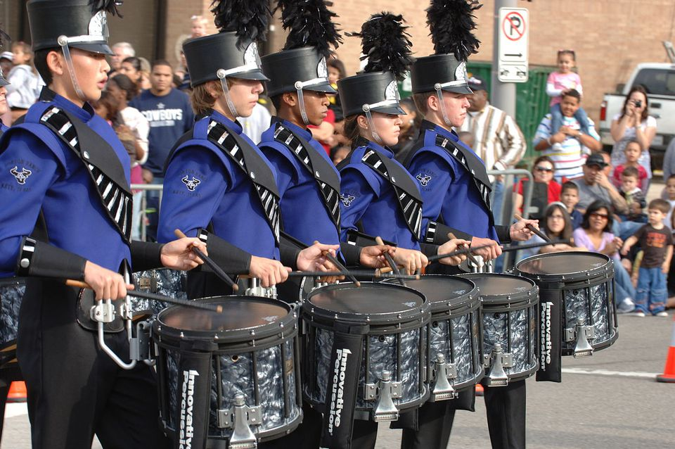 The Morton Ranch High School Band's drumline from Katy, Texas perfoming at the 59th annual H-E-B Holiday Parade in downtown Houston, Texas on November 27, 2008.