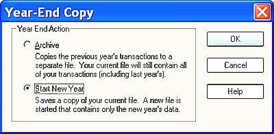 Quicken New Year file option