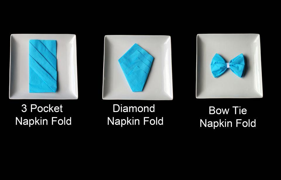 three types of napkin folds