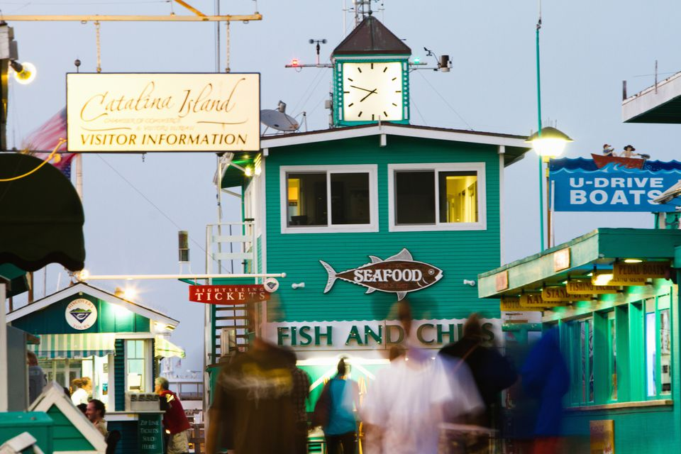 Quaint shops line Avalon's famous beach boardwalk