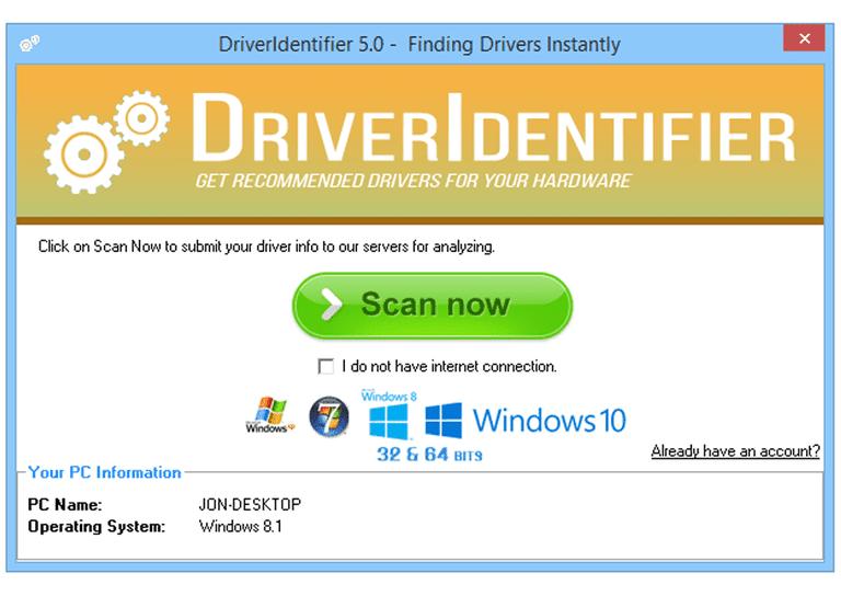 Screenshot of DriverIdentifier v5.0