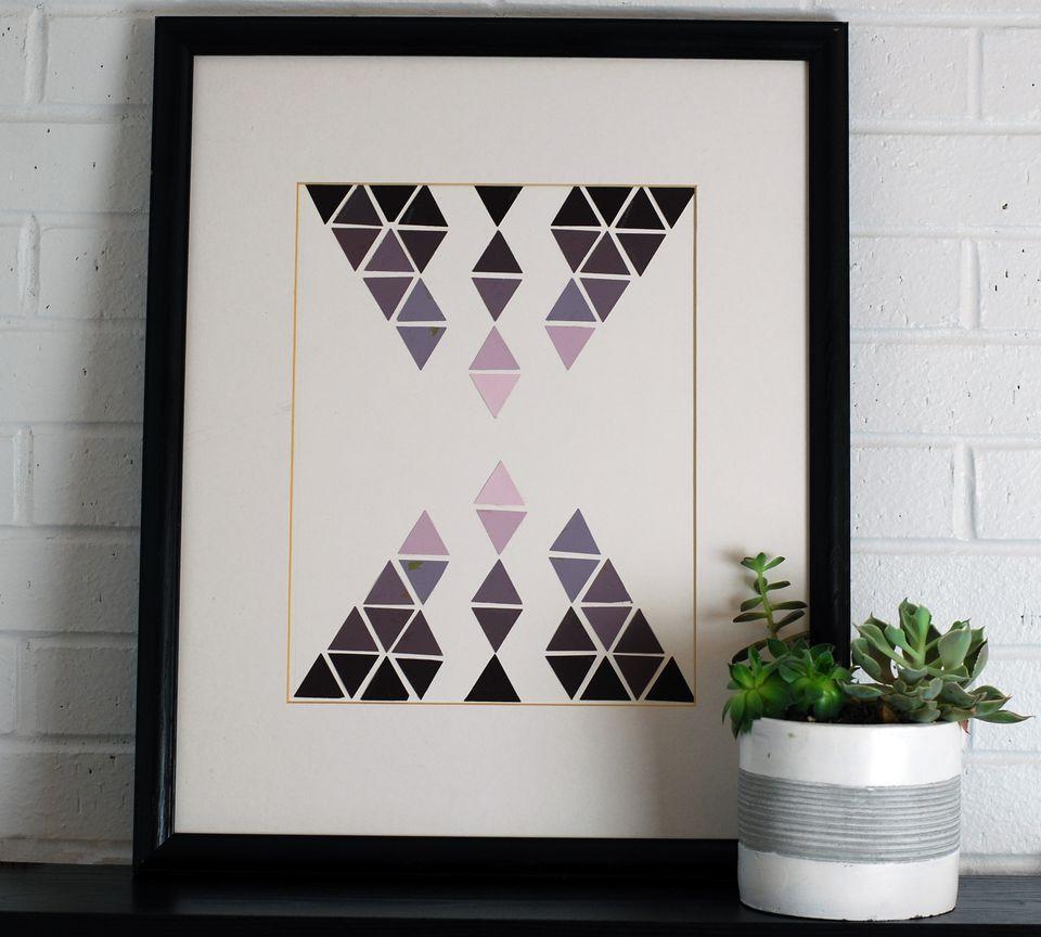 geometric paint chip wall art