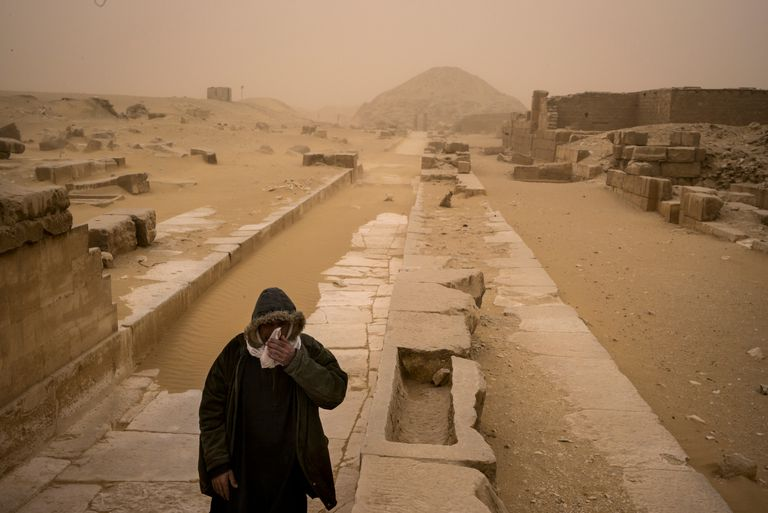 Causeway to Saqqara, Egypt, during a Sandstorm