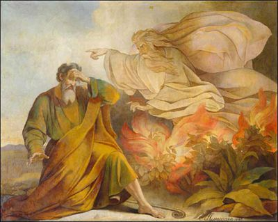 bible angels angel of the lord speaks to moses from a burning bush