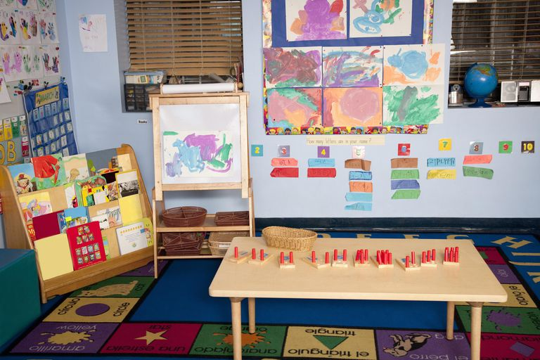 Pre-School classroom with puzzles and artwork