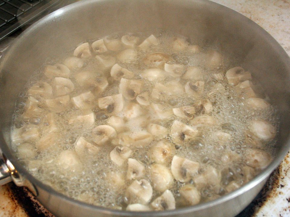 Boiling the mushrooms