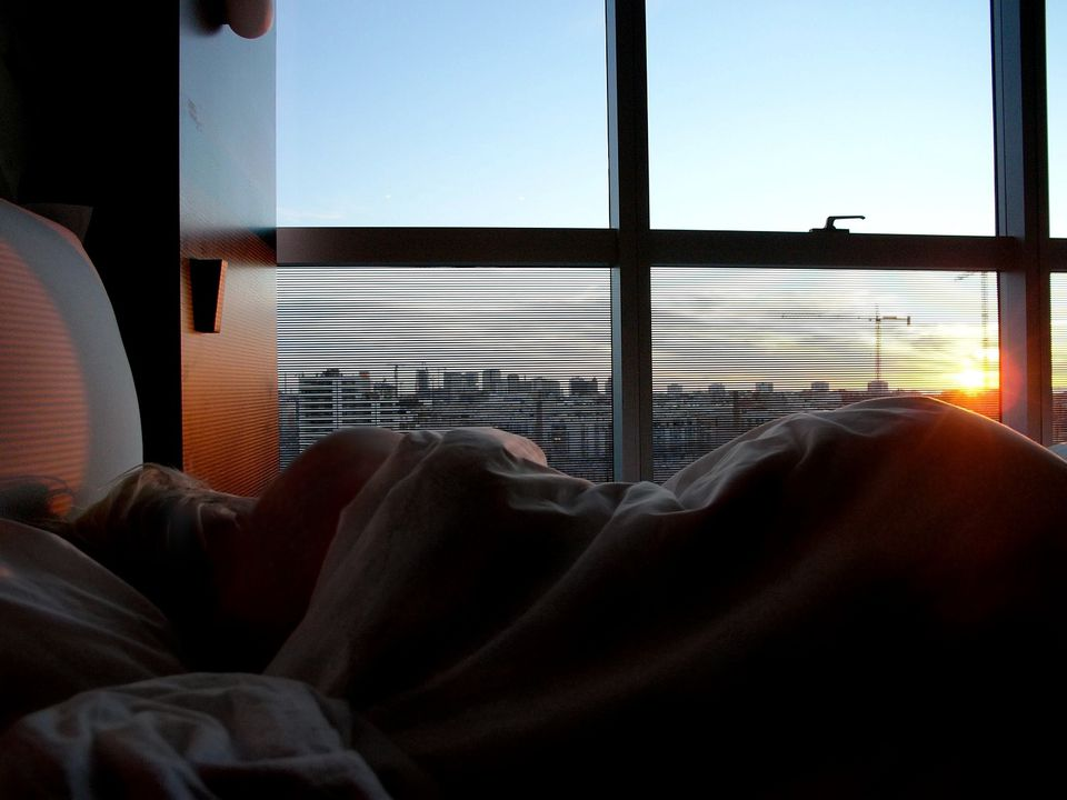 Hotel room at sunrise