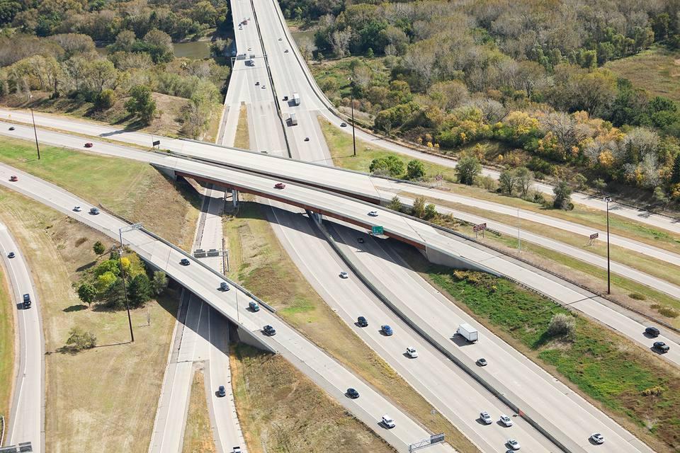 Highway Overpass, Bridge and Interchange Aerial