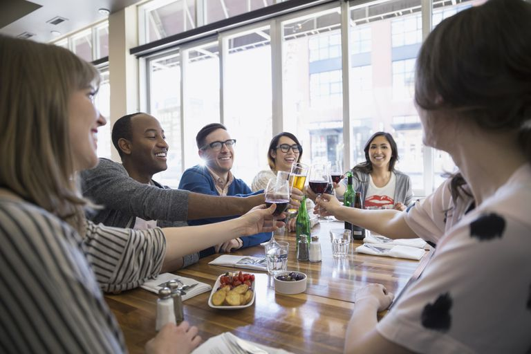 Group of friends drinking at a restaurant