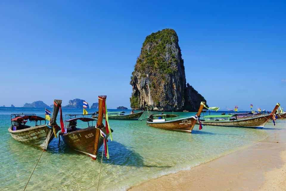 Boats off of a beach in Phra Nanh, Thailand