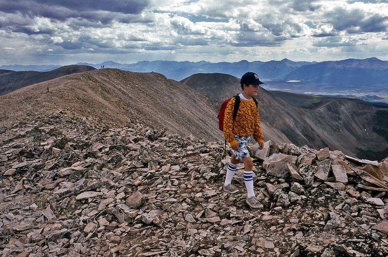 Ian Green hikes along the long summit ridge of Mount Sherman in Colorado's Mosquito Range.