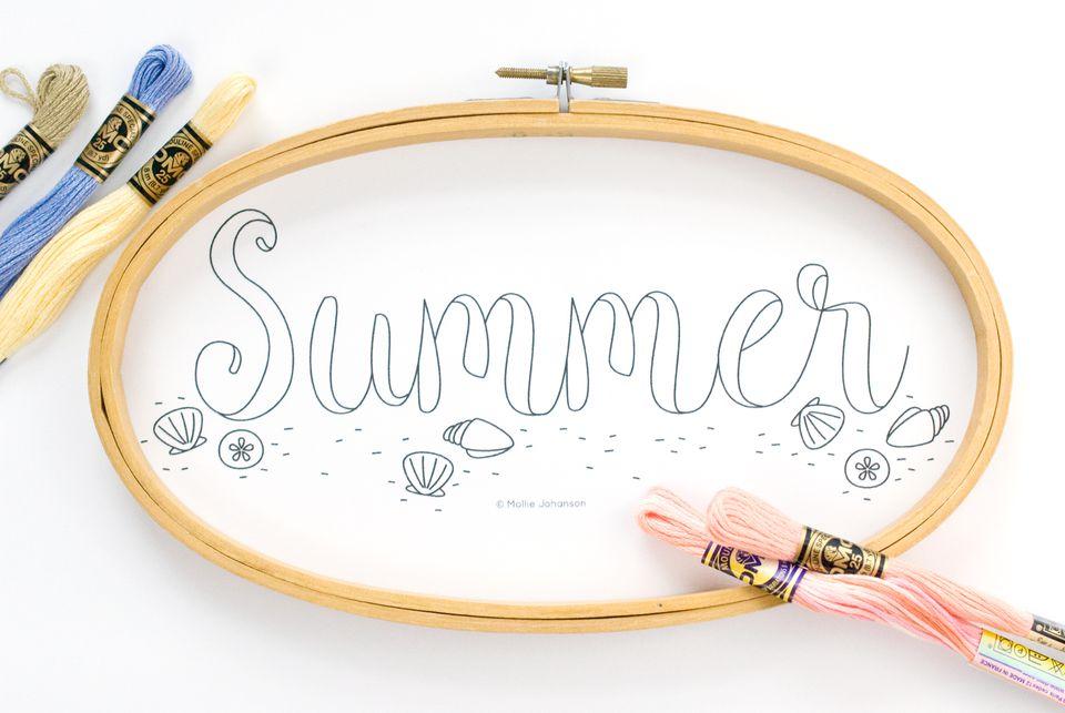 Summer Beach Embroidery pattern