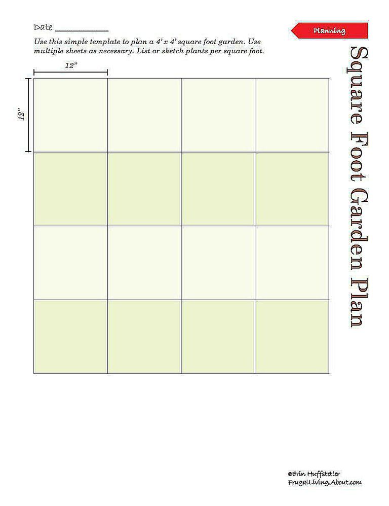 square foot garden planner kale plan template printable app