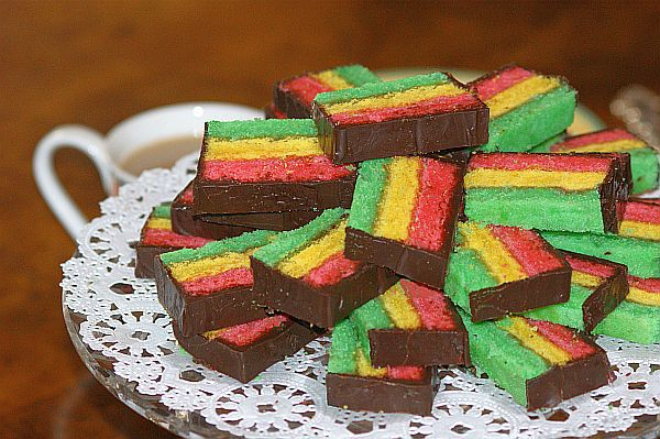 """Rainbow Cookies from """"Inside the Jewish Bakery"""" by Stanley Ginsberg and Norm Berg"""