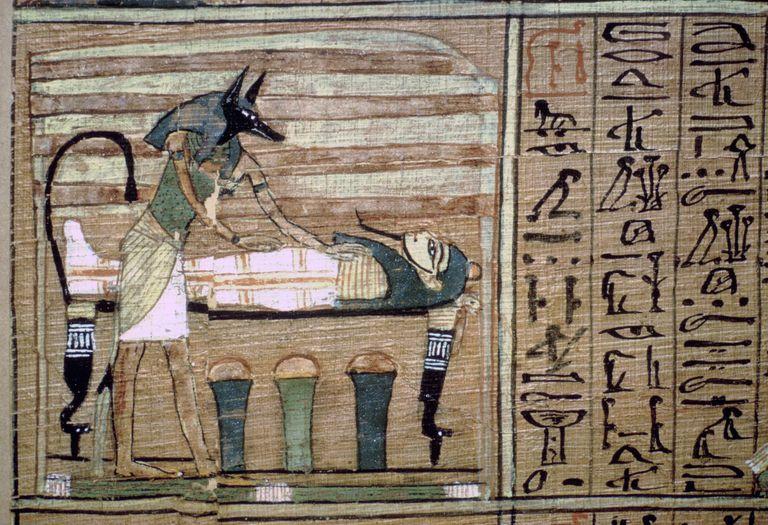 Papyrus of Anubis preparing a mummy.