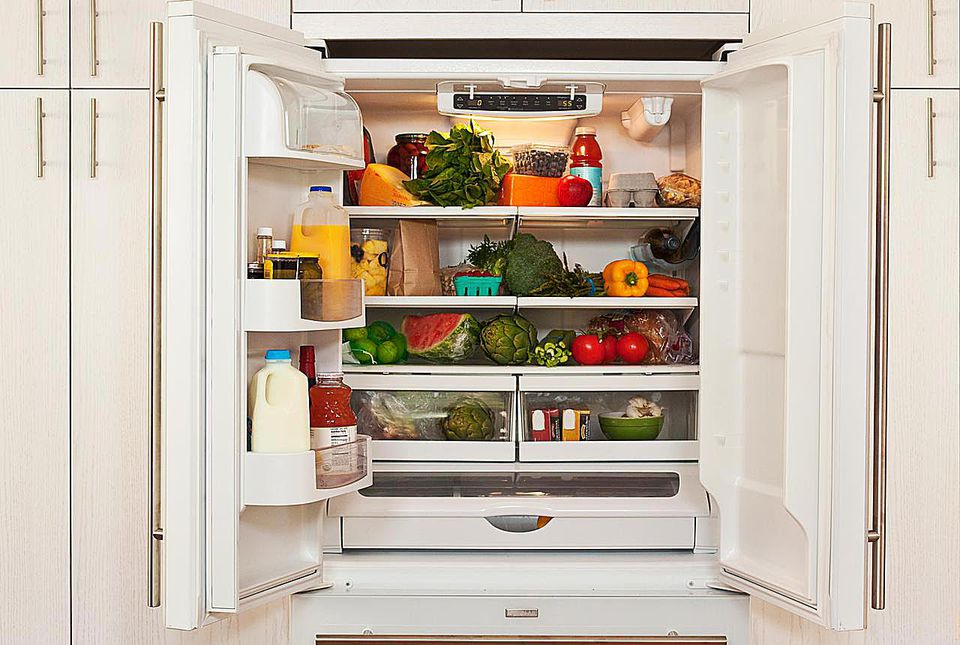 Interior view of refridgerator with healthy food