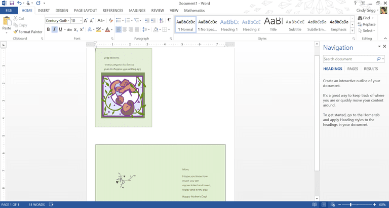 card template microsoft word