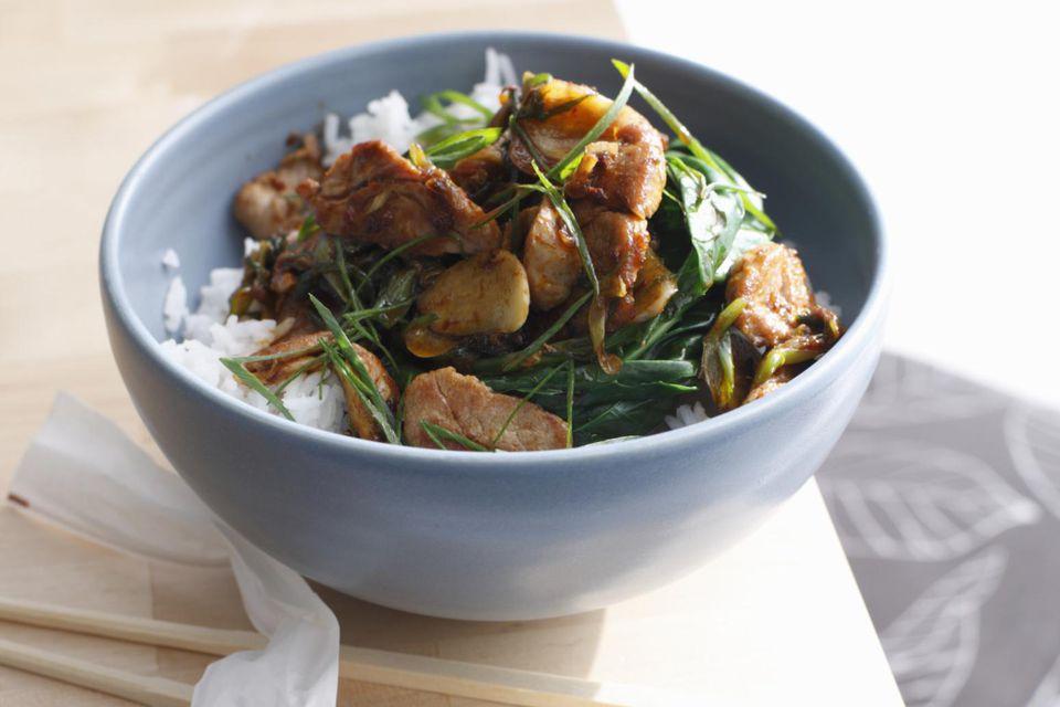 Bowl of pork stir fry