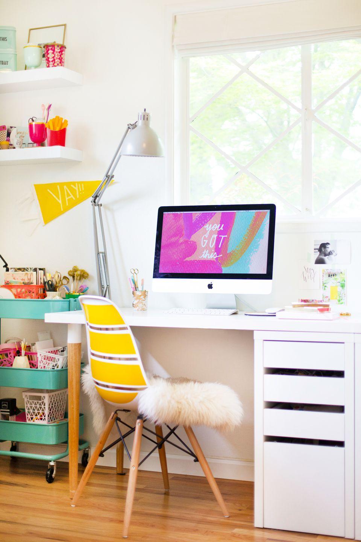 42 diys for a beautiful organized office for Diy ikea desk