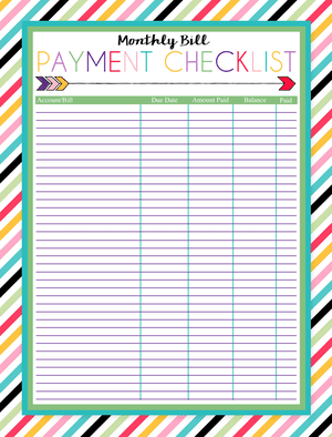 cute bill tracker template