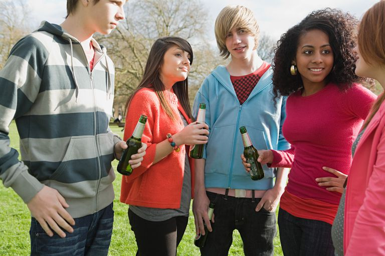 Teenagers in the park with beer