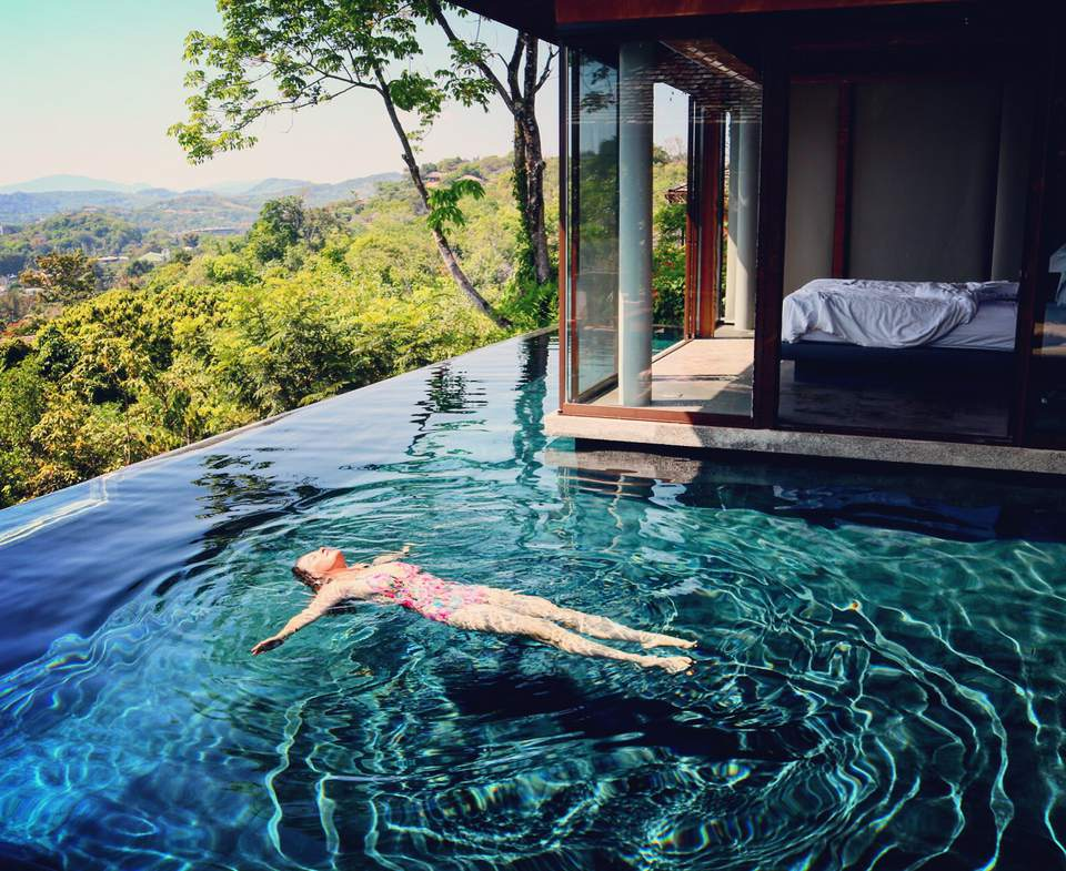 The author swims in her villa's pool at the Sri Panwa resort in Phuket.