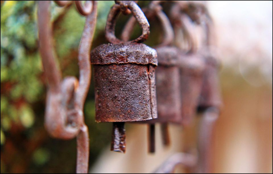 Rusted chime bells