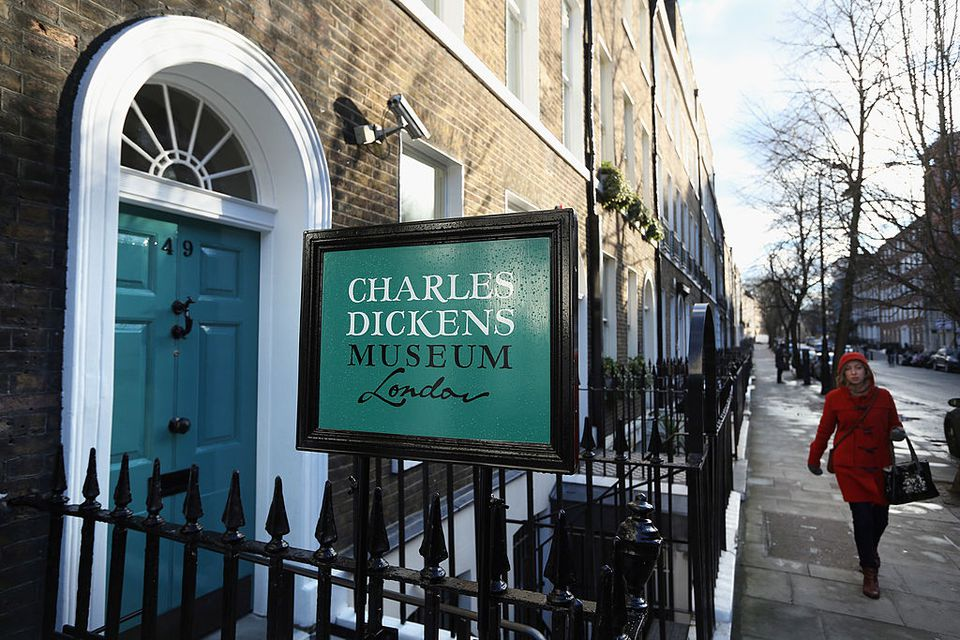 An exterior view of the Charles Dickens Museum on December 7, 2012 in London, England. The museum will re-open to the public on December 10, 2012 following a major 3.1 million GBP refurbishment and expansion programme to celebrate Dickens' bicentenary year. The museum is located in Charles Dickens' house on Doughty Street where he lived from 1837 until 1839 and in which he wrote many novels including Oliver Twist and Nicholas Nickleby