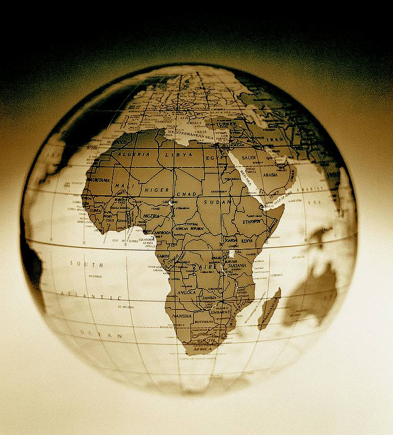 Africa on antique looking globe