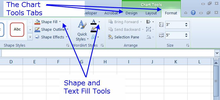 Make and format a column chart in excel 2010 the chart tools tabs in excel 2010 ccuart Image collections