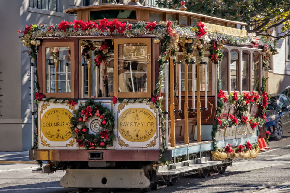 Cable car decorated for Christmas in San Francisco