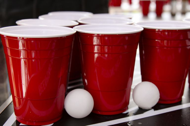 red solo cups and ping pong balls