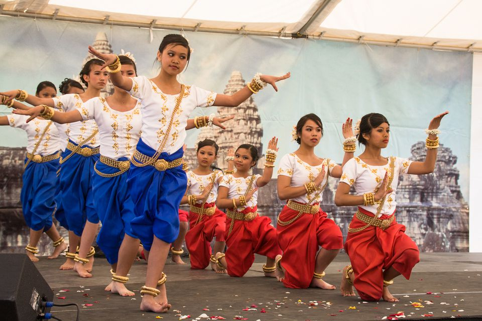 Cambodian Dancers at Cambodian New Year in Long Beach
