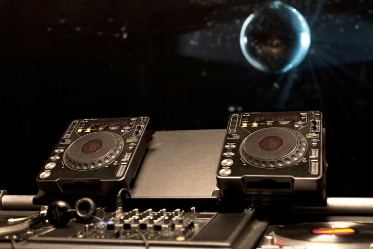 DJ turntables in a nightclub
