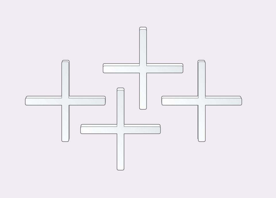 Tile spacers look like crosses or plus signs.