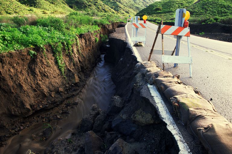 Flood damage is expected in California during El Nino events. Ventura County, California.