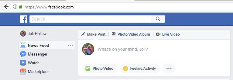 A picture of Facebook with Live Video as an option.