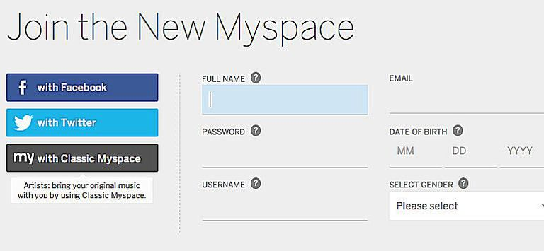 Sign up for Myspace