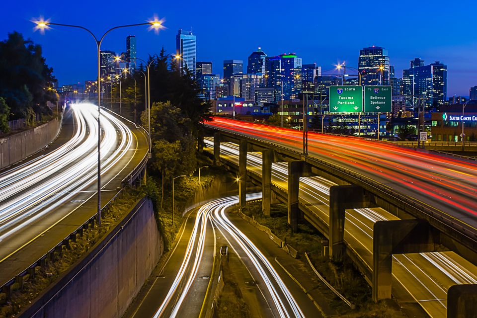 Seattle Skyline with Traffic