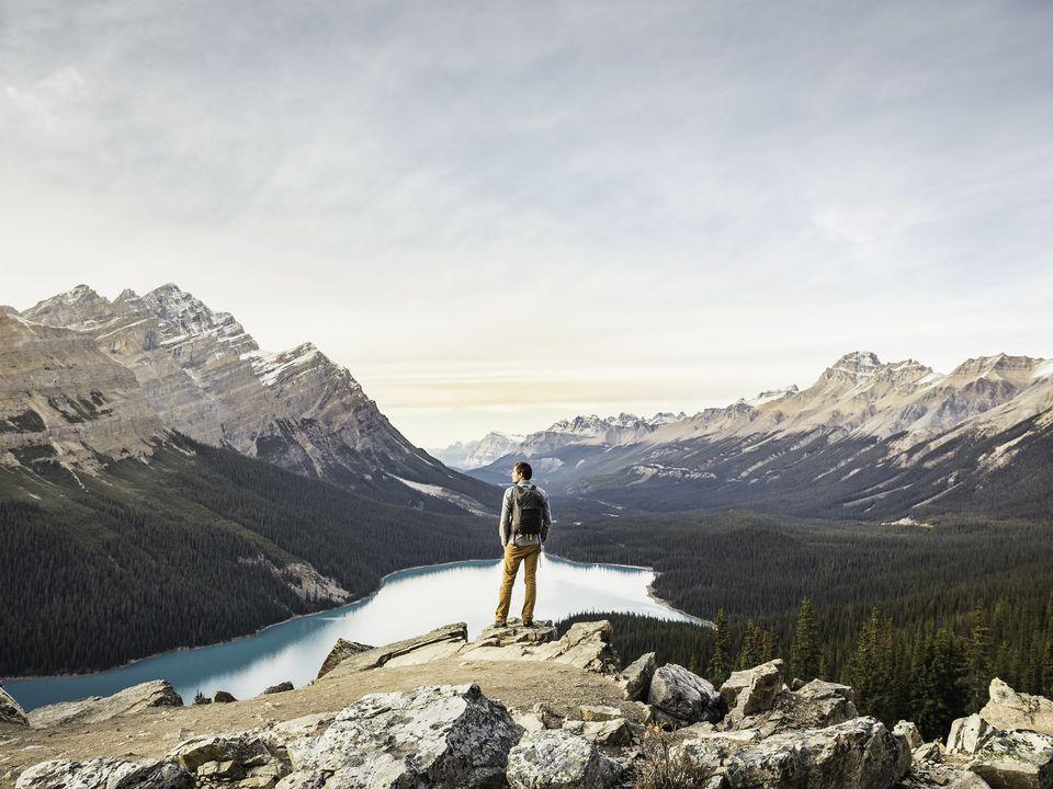 The view overlooking Peyto Lake, Lake Louise, Alberta, Canada