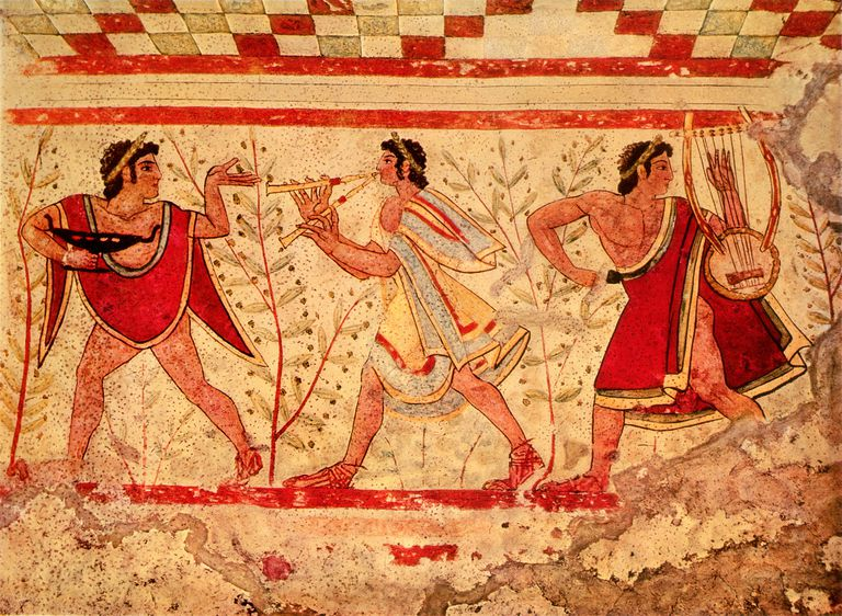 Etruscan musicians, reporduction of a 5th century BC fresco in the Tomb of the Leopard at Tarquinia