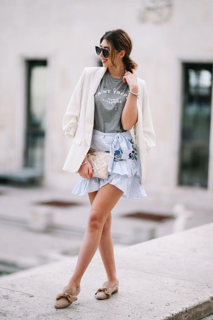 Street style white blazer and mini skirt