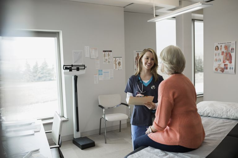 Clinic nurse with medical chart talking to patient