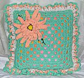 Crochet Granny Square Pillow With Aster Flower Design