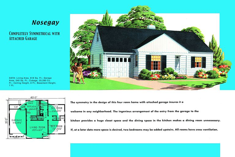1950s floor plan and rendering of minimal traditional modern style house called nosegay - 1950s Modern House Floor Plans