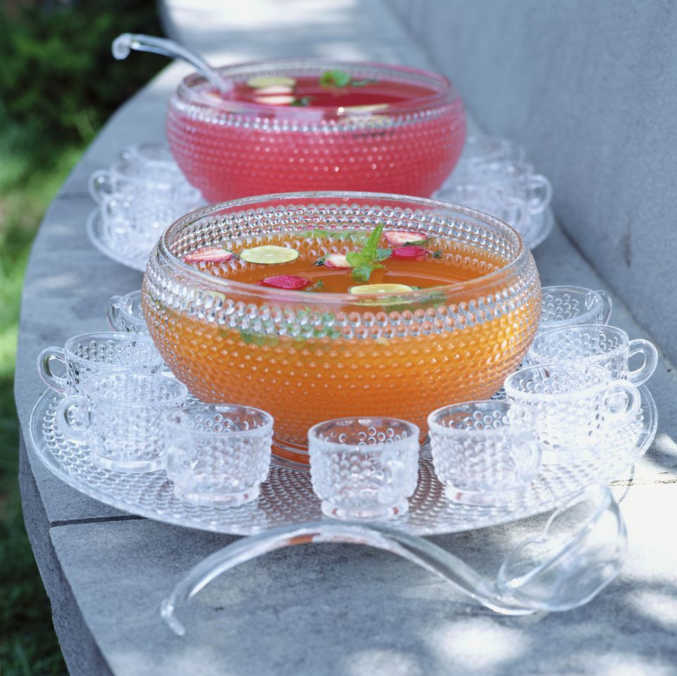 Punch Bowls and Cups With Pink and Orange Punch