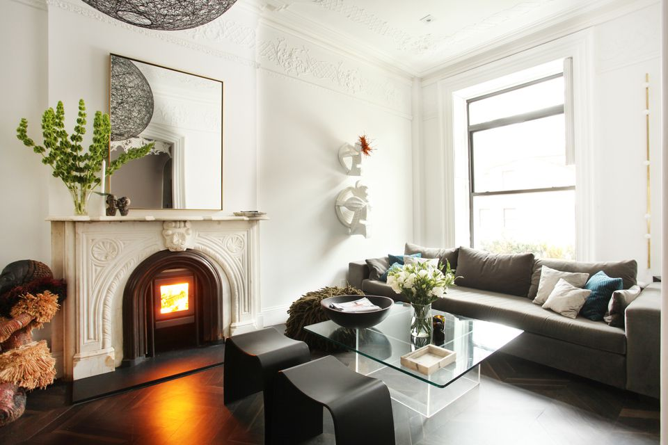 townhouse living room ornate fireplace