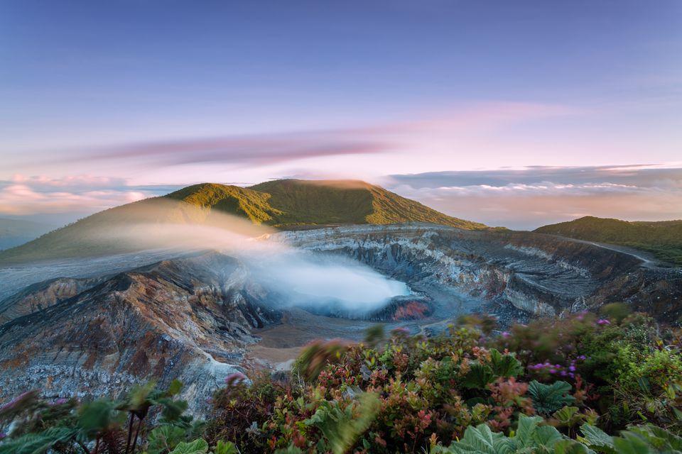 Poas Volcano crater at sunset, Costa Rica