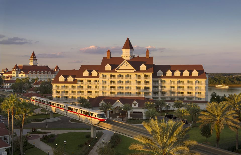 view of monorail passing in front of the Grand Floridian Resort