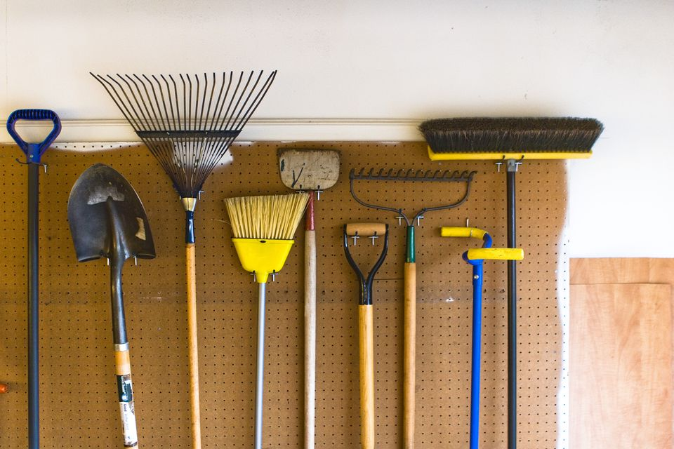 Household and Garden Tools stored in garage